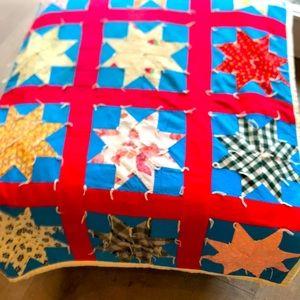 Vintage Handmade Multicolored Star Pattern Quilt